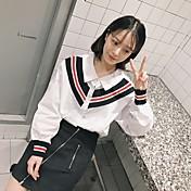 春2017韓国版は薄いルーズニットステッチヒットカラーコットン長袖ストライプシャツだった