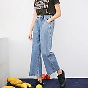 Real tiro retro pantalones vaqueros anchos cordón la cintura elástica fue fina pantalones casuales pantalón ancho pantalones siete mujeres