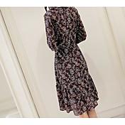 firmar para el vestido impreso floral damas cuello de la camisa de manga larga volantes de vestido de gasa y largas secciones
