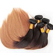 Than4lot / pcs 12-26 pulgadas pelo virginal brasileño de color recta ombre 1b / 27 que teje el pelo liso