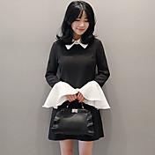 17新しい春韓国の野性気質の人形の襟のホーンスリーブウエストのドレス