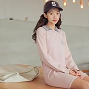 刺繍カレッジ風の長いセクションニットセータードレスシャツのボトミングがラペルサイン