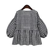 2016年秋の新しい大きいサイズの女性' sの格子縞のスカートのVネックのブラジャー脂肪ミリメートル提灯袖シャツワワシャン