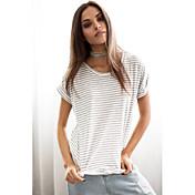 ヨーロピアンスタイルの夏の新しい女性のストライプバットシャツの薄いセクション通気性の綿緩い半袖Tシャツ