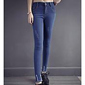 pantalones ajustados pantalones vaqueros desgastados modelos del resorte femeninos pies pantalones pantalones elásticos pantalones de