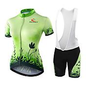 Maillot de Ciclismo con Shorts Mujer Manga Corta Bicicleta Shorts/Malla corta Camiseta/Maillot Pantalones Cortos Acolchados