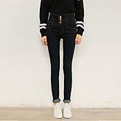 Versión real coreano de los nuevos pantalones vaqueros negros de la cintura alta breasted los pies femeninos adelgazan a mujeres de los