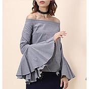 Nuevas mujeres de la primavera&# 39; s estilo europeo palabra hombro cuerno manga camisa a cuadros mancha