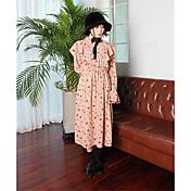 17有名な早春のハーフシックな貴族の気質ラウンドネック長袖花柄のドレスをフラウンススピーカー