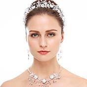 Cristal Cristal Brillante Cerámica Blanco 1 Collar 1 Par de Pendientes Joyería de Pelo Para Boda Fiesta Ocasión especial 1 SetRegalos de