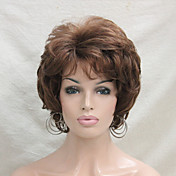 Mujer Pelucas sintéticas Sin Tapa Corto Rizado castaño medio Parte lateral Con flequillo Peluca natural Las pelucas del traje