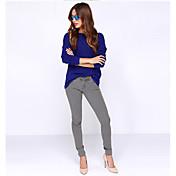 Aliexpress ebay2017 primavera y verano v profundo trasero halter de manga larga ronda cuello t-shirt mancha de color sólido
