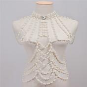 女性 ボディジュエリー ボディチェーン/ベリーチェーン ファッション ビンテージ 手作り 人造真珠 ラインストーン 合金 ホワイト ジュエリー のために Halloween カジュアル 1個