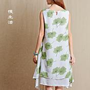 Nuevas mujeres&# 39; s vestido de estilo literario cuello redondo sin mangas versión floja vestido de impresión falso dos