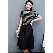 夏のドレスと韓国の気質のスカートのツーピースのスーツの女性モデルの夏のファッション2017新しい波