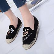 Mujer-Tacón Plano-Confort-Zapatos de taco bajo y Slip-Ons-Informal-Ante-Negro Verde Almendra
