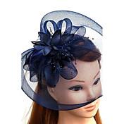 羽毛 チュール ネット かぶと-結婚式 パーティー ヘッドドレス ハット バードケージベール 1個