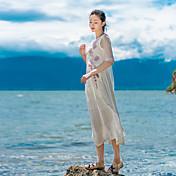 符号2017春の新しいしわシルク刺繍の綿のラペルのステッチのドレスと長いセクション