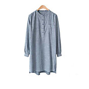 2017スプリングレディースシングルポケットシャツドレス