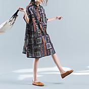 signo de la sección de largo vestido de manga corta de algodón floral flojo retro verano 2017