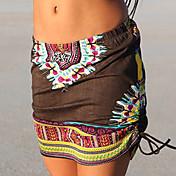 Damer Vintage Boheme I-byen-tøj Afslappet/Hverdag Mini Nederdele Bodycon Trykt mønster Sommer Efterår