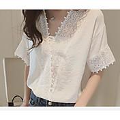verano versión coreana de la nueva camisa floja de la gasa del cordón del color sólido blanco de manga corta con cuello en V hueco blusa