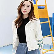サインデニムジャケットスプリング新しい韓国女性の短い段落は薄い女性が緩い刺繍デニムクリップだった