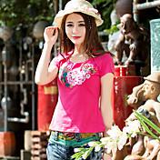 Nuevas mujeres&# 39; s bordado nacional de viento de manga corta cuello redondo cuello más súper suave tela elástica pilling camiseta