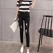 signo de la primavera 2017 nueva moda los pantalones vaqueros finos delgados femeninos de Corea nueve pies pantalones deshilachados marea