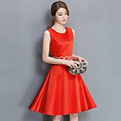 2017年春に新しい女性に署名' sの固体気質のドレスの女性の夏のスカートのウエストは、単語のスカート薄かったです