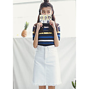 Signo hip versión coreana era delgado blanco alta cintura denim falda falda femenina faldas sección larga