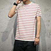 新しいストライプのTシャツ男性モデルの日本綿94%スパンデックス6%
