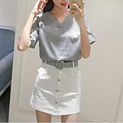 señal verano nueva camiseta v-cuello sin blusa a rayas + traje cruzado falda de la correa del paquete falda