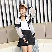 firmar verano nueva versión coreana de la gasa del cordón de costura de pestañas chaqueta corta camisa de la ropa de protección solar