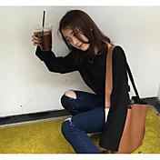 signo # casera retro clásico simplicidad cuello redondo t cobertura coreano manga murciélago suelto fino de color sólido camiseta