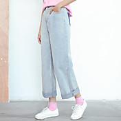 ファッションデザインヒットカラーライトブルーストレートジーンズワイドレッグジーンズ女性