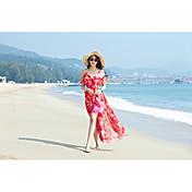 モデル本物のショットシフォンストラップレススリム薄いスリットスカートボヘミアン海辺のリゾートビーチ