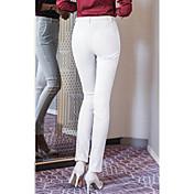 Mujer Estilo de Oficina Tiro Medio Eslático Ajustado Pantalones,Corte Bodycon Un Color Color puro