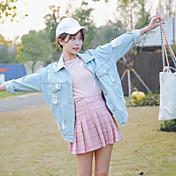 レディース 16歳誕生日 春 秋 ジャケット,パンク シャツカラー 純色 レギュラー コットン 長袖 リベット