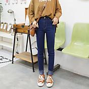 signo de la primavera versión coreana del delgado era delgada franja de lana con flecos de mezclilla pantalones elásticos pies pantalones