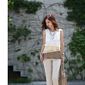 2014年春韓国人女性の夏のファッションノースリーブシフォンシャツ多色レベルフリルドレス