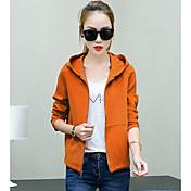 女性の短いパラグラフ長袖ジャケット春と秋の韓国の学生は薄い緩いカジュアルなフード付きのジャケットカーディガンジャケットでした