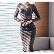 Coreano compras delgado era fino de manga larga cuello redondo halter vestido perspectiva edición