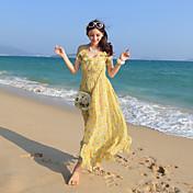 2017新ボヘミアンシフォン花柄のノースリーブのベストハーネスドレスのスカートのビーチリゾート