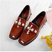 Mujer-Tacón Bajo-Confort-Zapatos de taco bajo y Slip-Ons-Informal-Cuero Patentado-Negro Verde Marrón Claro