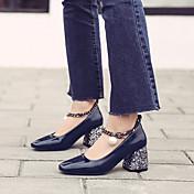 Mujer-Tacón Robusto-Confort-Tacones-Informal-PU-Azul Borgoña