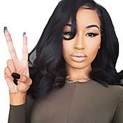 Mujer Pelucas de Cabello Natural Cabello humano Encaje Frontal Frontal sin Pegamento 130% Densidad Ondulado Grande Peluca Negro Corto