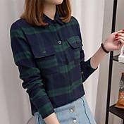 レディース カジュアル/普段着 シャツ,シンプル スタンド ストライプ コットン 長袖 薄手
