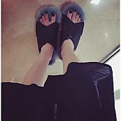 Mujer Zapatillas y flip-flop Tira en el Tobillo Sintético Otoño Invierno Casual Tacón Plano Blanco Gris Plano