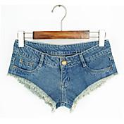 Mujer Sencillo Tiro Bajo Microelástico Shorts Pantalones,Delgado Un Color